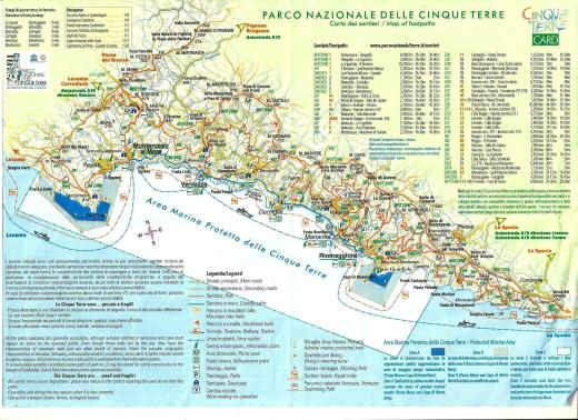 Cinque Terre map from the tourist information center