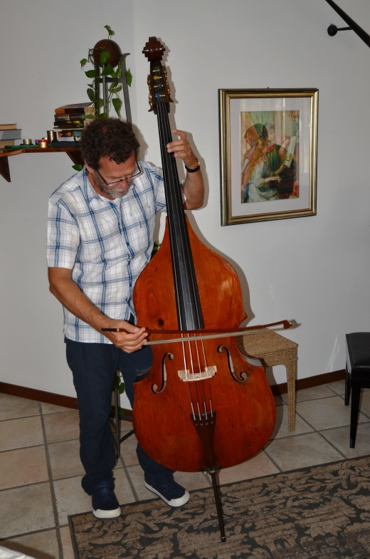 Claudio plays the double bass