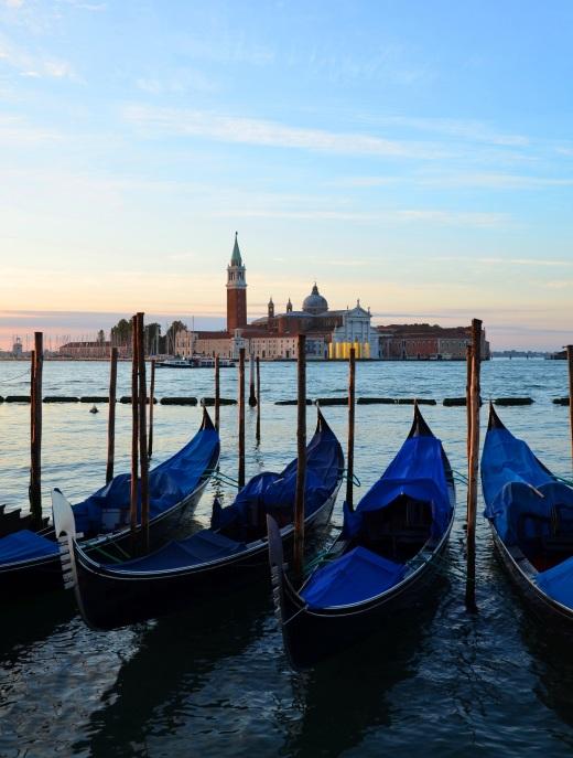 The classic photo of Venice;  Gondolas at St. Marks