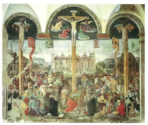 Giovanni Donato Montorfano's Crosifissione, on the opposite wall facing The Last Supper, also painted in1495.