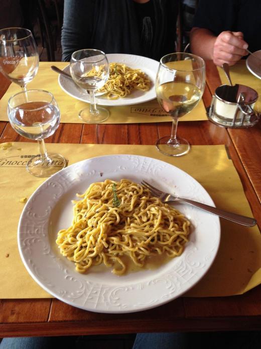 The very tasty spaghetti with black truffles