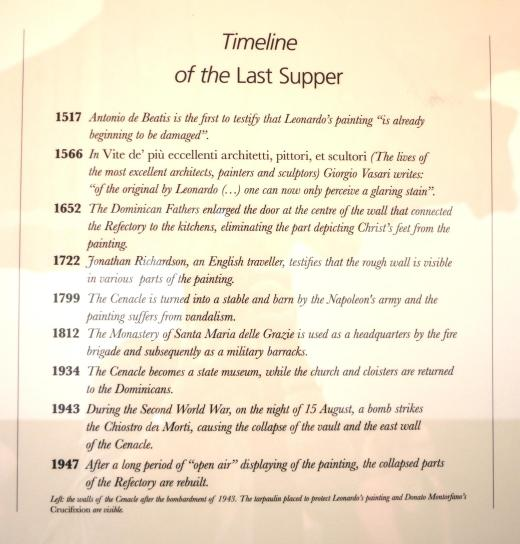A Last Supper timeline in one of the waiting rooms