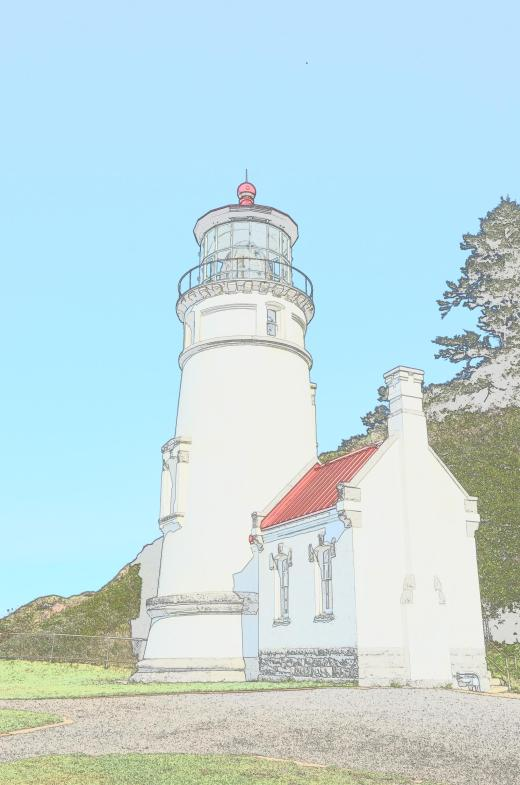 Nikon Color sketch of the Heceta Lighthouse