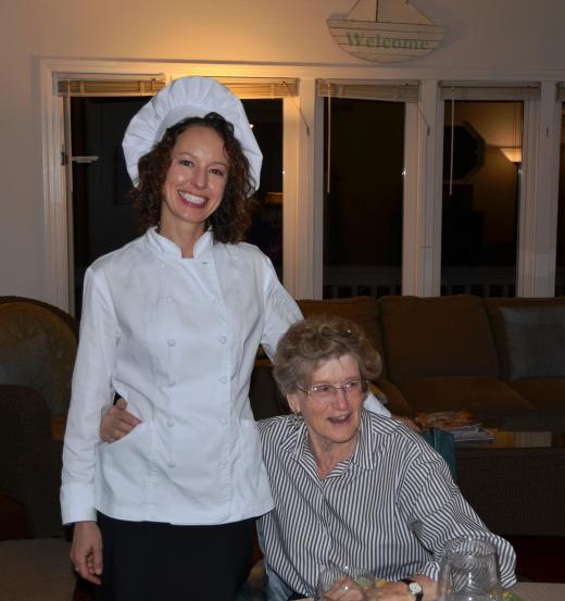 My mother thanks Chef Becky for a wonderful dinner
