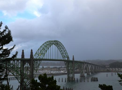 The Newport, Oregon bridge, with the usual Oregon weather of rain squalls and sun.