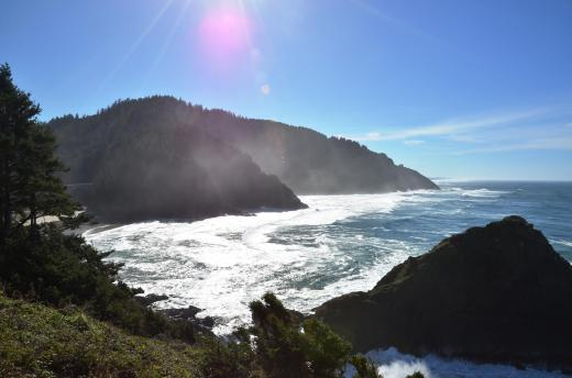 The Oregon Coast in October, looking south from the Heceta Lighthouse.