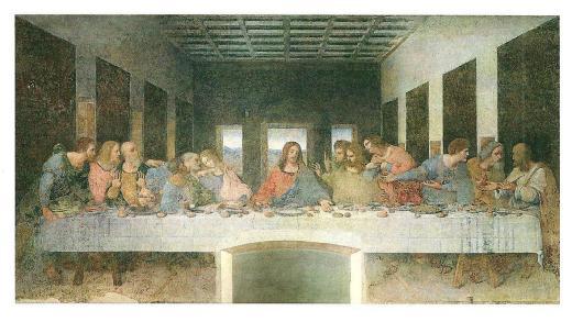 Leonardo da Vinci's Ultima Cena (The Last Supper) painted between 1495 and 1498.