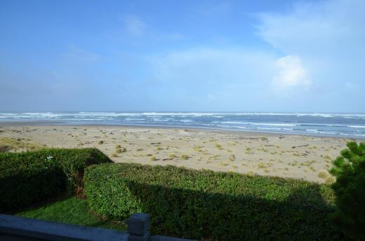 The view from our rental home on Waldport beach