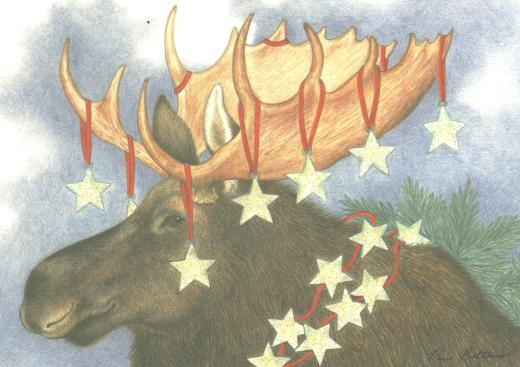 """Starry Moose"", A Paris Bottman card.  Bottman Design, Inc.  Printed in Canada."
