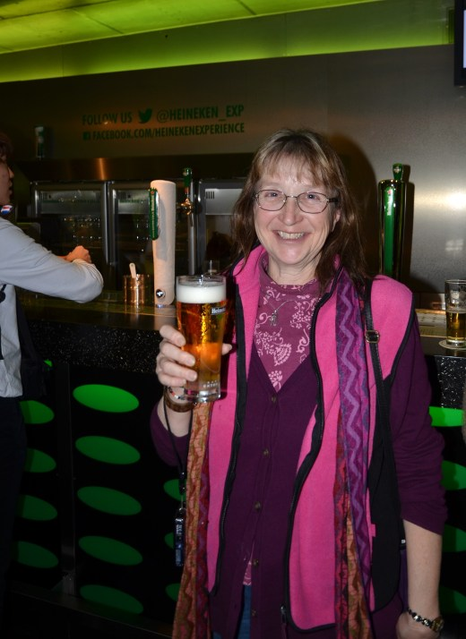 "My sister sampling the ""extra cold"" Heineken"