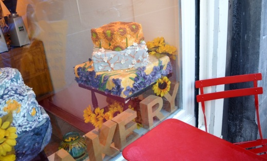 A Van Gogh inspired caked in a bakery window