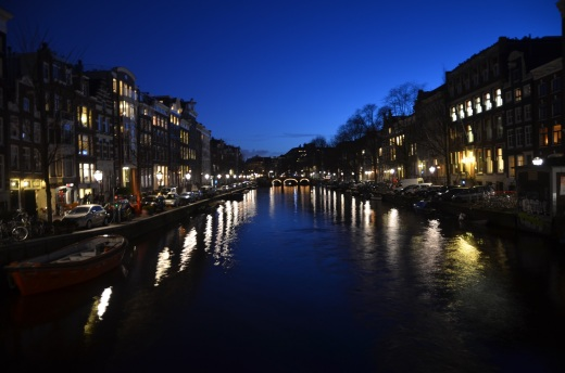 A canal just after sunset