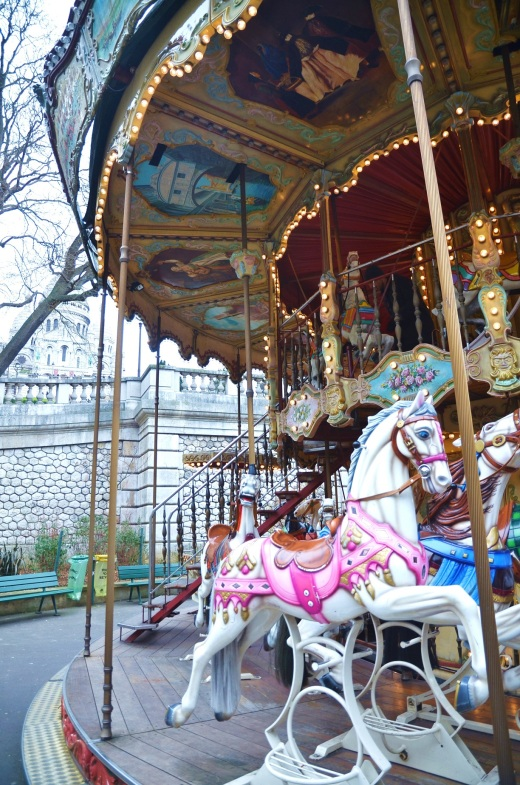 The carousel at the foot of Sacre-Coeur