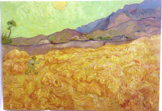 Wheatfield with a reaper, Saint-Remy, September 1889, the view from his room at the asylum