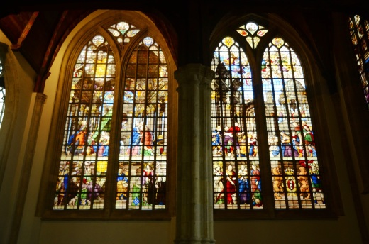 Stained glass windows in the Lady's Chapel