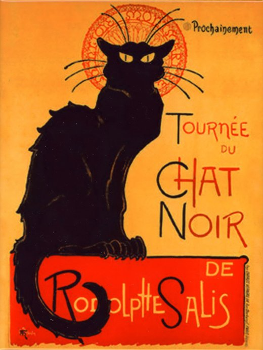 Le Chat Noir, an iconic poster art image from the Montmartre cabaret established in 1881.  The artist was Steinlen.  This is image is EVERYWHERE and on everything imagineable here in the Montemartre area of Paris