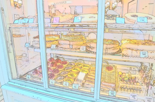 Nikon color sketch feature on a pastry shop window in Montmartre