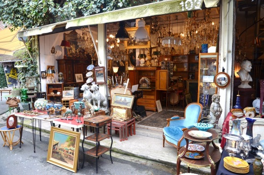 A vender at Les Puces de St-Ouen