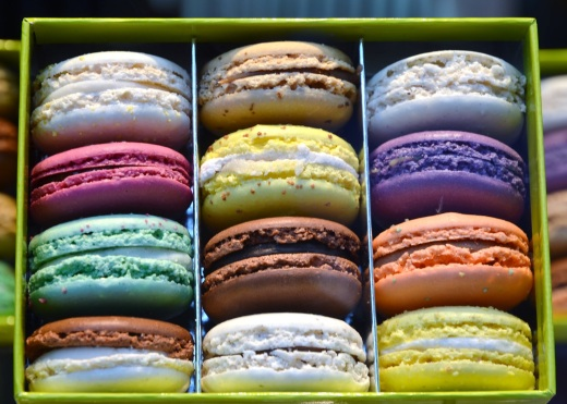 Macaroons in the window at Christophe Roussel Patissier Chocolatier