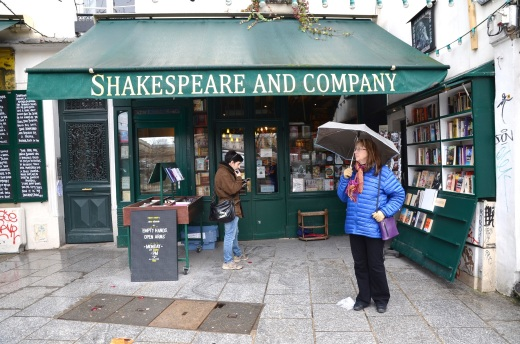 Rain showers outside Shakespeare and Company bookstore, Paris
