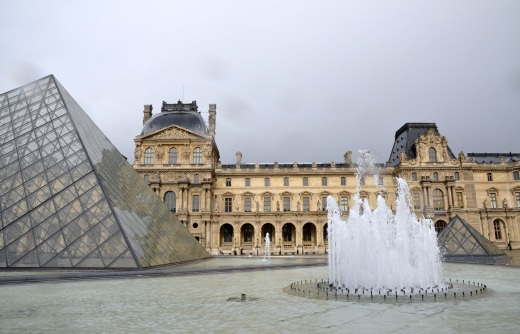 The dark and rainy sky as we entered The Louvre
