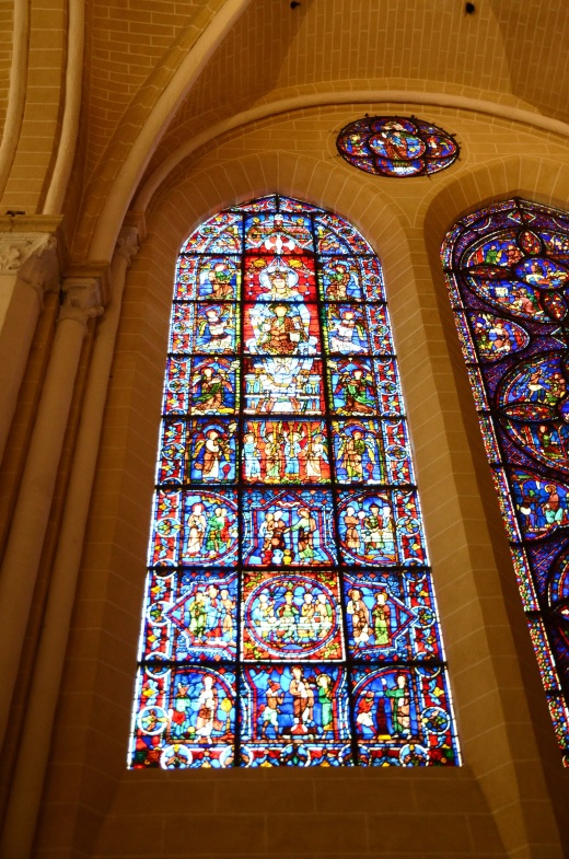"The ""Blue Virgin"" window from the 12th century.  The virgin is shown holding baby Jesus"