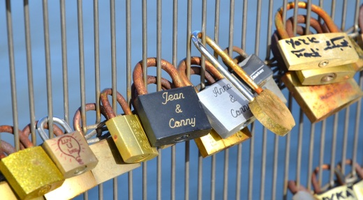 Engraved locks on the bridge