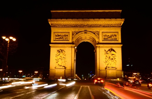 The Arc de Triomphe, taken from the middle of The Champs-Elysee