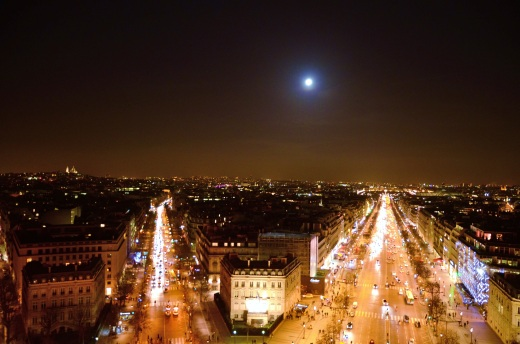 The full moon over The Champs-Elysees