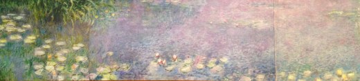 A postcard of one of Monet's giant water lily paintings
