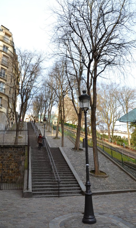 Montmartre stairs looking up