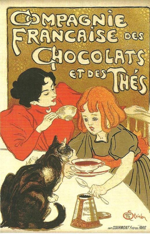 Theophile-Alexandre Steinlen.  Compagnie Francaise des Chocolates et des Thes.  1895