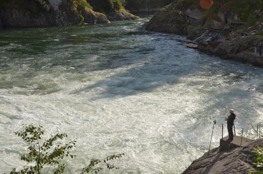 Fishing just below the falls