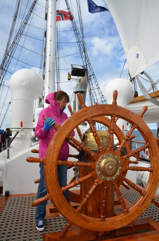 My sister at helm duty