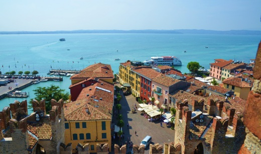 The main square and ferry dock from the top of the Sirmione castle
