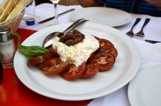 Local version of a Caprese Salad using black tomatoes
