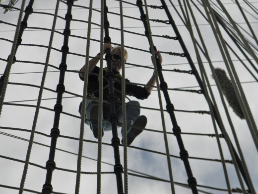 Me climbing the rigging