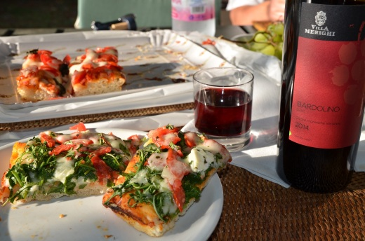 Dinner of pizza and local wine