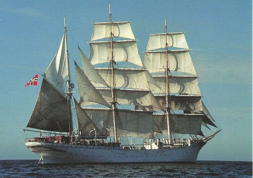 The Statsraad Lehmkuhl, from a postcard purchased from the ship's souvenir shop