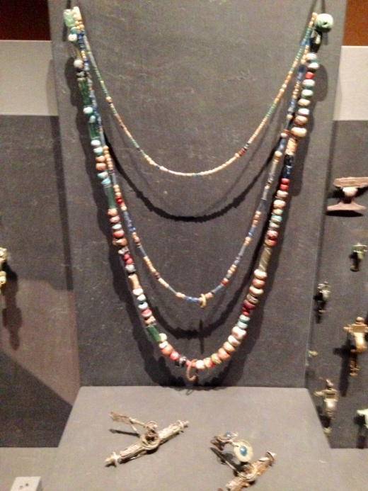 Viking bead necklace excavated from a woman's grave at the site