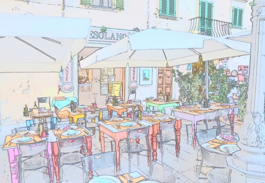 A Fiesole cafe in color sketch