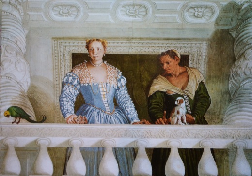 Paolo Veronese (1528 - 88): La moglie di Marcantonio Barbaro e Nutrice, Stanza dell'Olimpo in the Villa di Maser