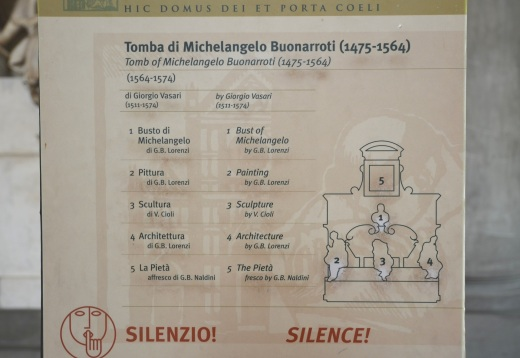 The sign inside the church describing Michelangelo's tomb.