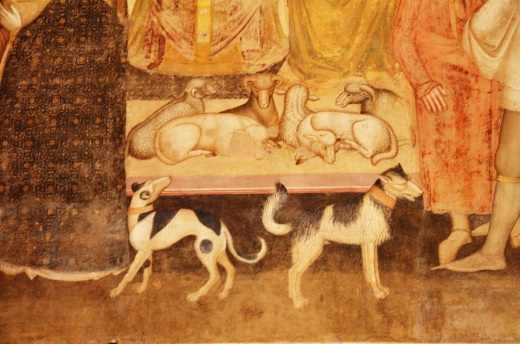 A close up of the Lord's dogs in the frescoe