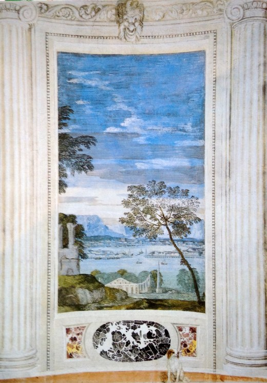 My favorite frescoe in the house, from The Room Of The Little Dog, by Paolo Veronese, Stanza del cane, Villa di Maser
