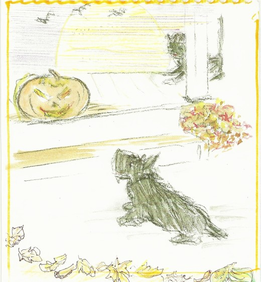 My mother's hand-drawn Halloween card for 2015