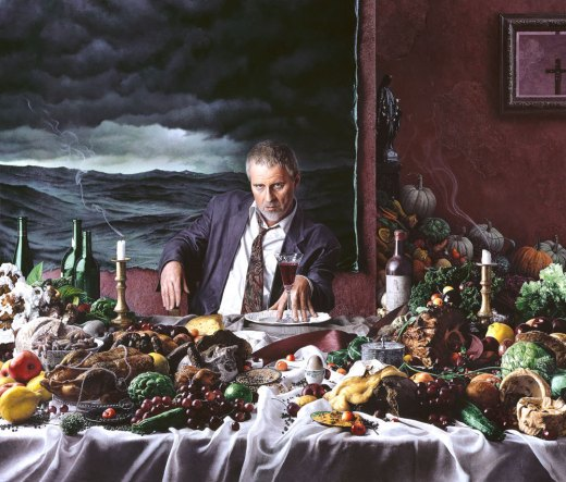 A more recent painting, Kent Bellows' self-portrait with Wine Glass, 2000