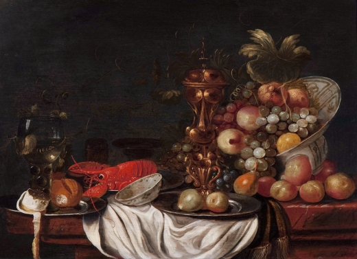 Still_life_of_fruit_in_a_porcelain_bowl,_a_golden_goblet,_lobster_and_a_rummer,_by_monogrammist_JHV