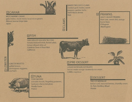 The menu for our personal Farmtable dinner experience.