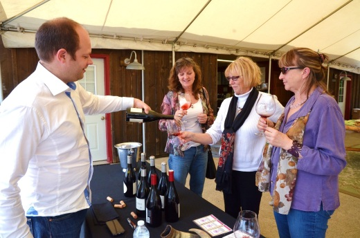 My sisters and Wendy tasting Pinots at Lachini